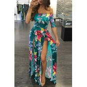 Elegante Dew Shoulder Half Sleeves Floral Print Verde Leite Fibra Floor Length Dress