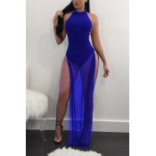 sexy visiter-Through Blue Twilled Ankle Length Dress