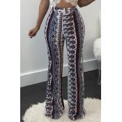 Elegante pantalones de algodón estampados de cintura alta