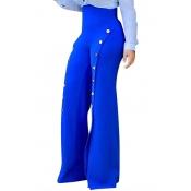 Elegante alta cintura botones de gasa azul decorativo