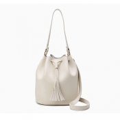 Fashion Tassel Design White PU Solid String Shoulder Bags