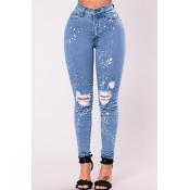 Стильная высокая талия Разбитые отверстия Светло-голубой джинс J