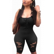 Leisure Round Neck Hollow-out Black Polyester One-piece Jumpsuits