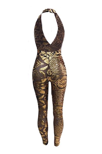 сексуальный глубокий V шеи без рукавов Backless золота блестками цельный тощие комбинезонах