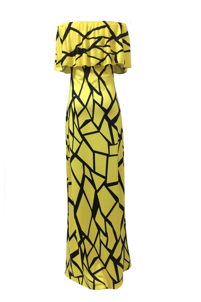Charmante Bateau Hals Kurzarm Falbala Design Gelbe Milch Faser Hülle Knöchel Länge Kleid