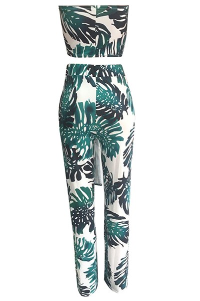 Elegante orvalho ombro impresso verde qmilch duas peças calças set