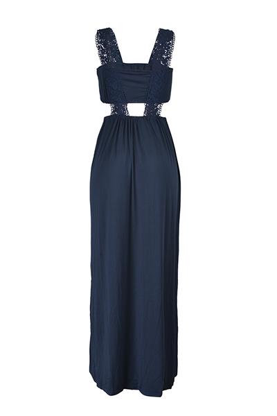Euramerican impresso a prova de fogo azul-marinho vestido de poliéster vestido de comprimento