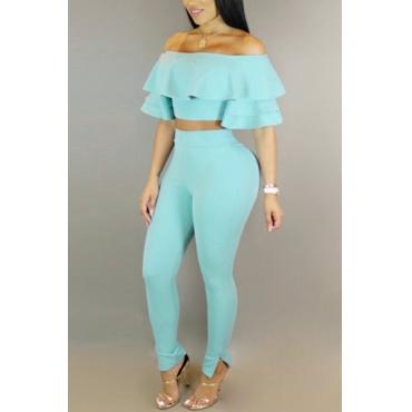 Sexy Dew Shoulder Falbala Design Blue Milk Fiber Two-piece Pants Set