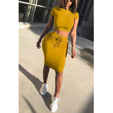 Leisure Round Neck Short Sleeves Broken Holes Yellow Polyester  Two-piece Skirt Set