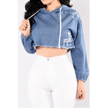Leisure Hooded Collar Long Sleeves Blue Polyester Pullovers