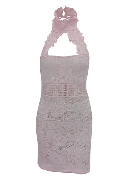 Sexy Backless Pink Lace Sheath Mini Dress