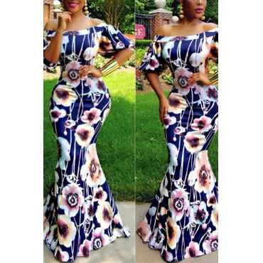 Fashion Bateau Neck Floral Print  Milk Fiber Mermaid Floor Length Dress