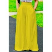 Stylish High Waist Yellow Polyester Pants