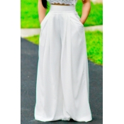 Stylish High Waist White Polyester Pants